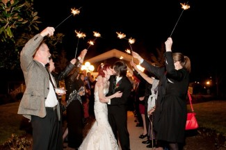sparkler send off for bride and groom