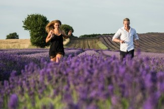 Running through Hitchin lavender fields