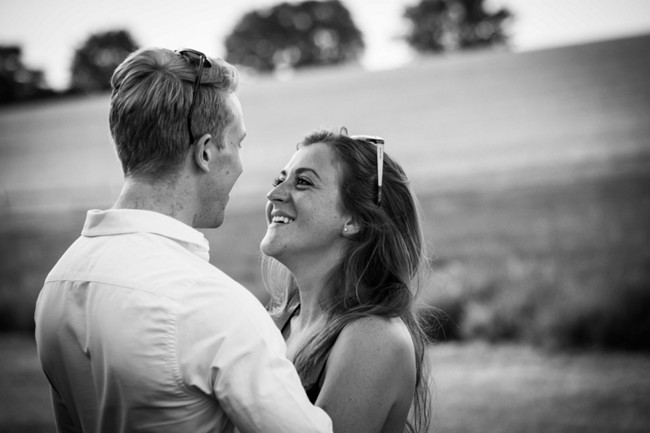 Black and white photo of couple at Hitchin lavender farm