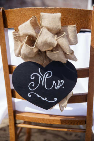 "Heart chalkboard with ""mrs"" and a burlap bow"