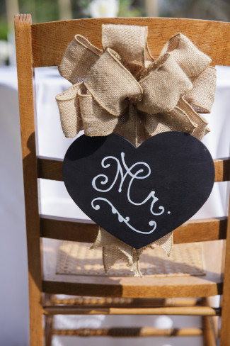 "Heart chalkboard sign with ""Mr"" and a burlap bow"