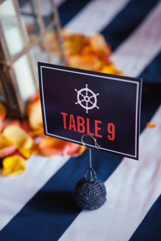 Nautical navy blue with a ship wheel as a wedding table number