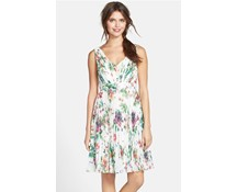 Greta' Garden Floral Print Pleated Dress