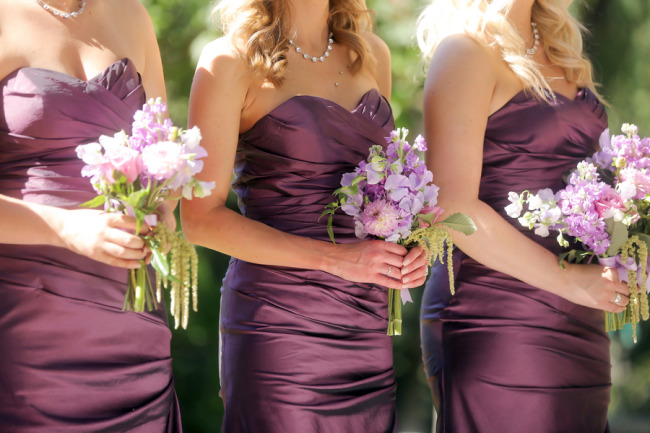 bridesmaids in maroon color dress