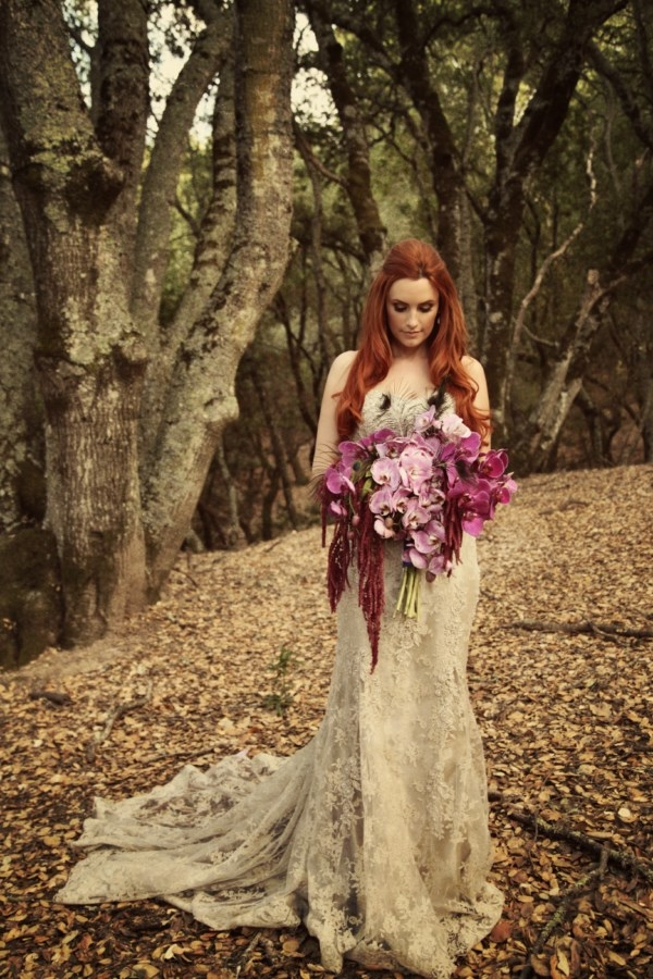 bride with large purple bouquet