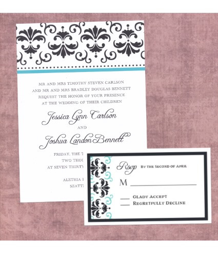 damask invite and rsvp suite - Damask Wedding Invitations
