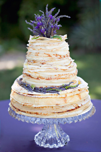cake with lavender bunch as cake topper