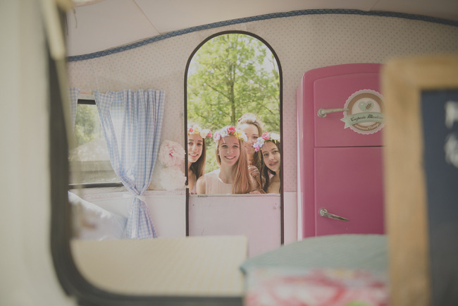 vintage caravan for a wedding reception that serves crapes