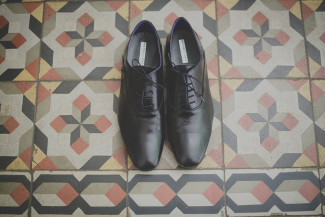 Grooms black shoes