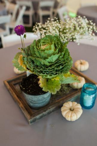 Cabbage, baby's breath and white pumpkin wedding reception centerpieces