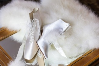 Silk white lace up vintage heels and fur stole for bridal accessories