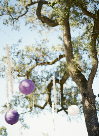 paper lanterns in purple shades hang from tree