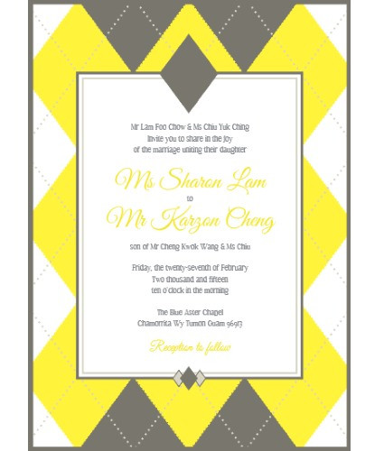 Argyle Wedding Invitation Suite