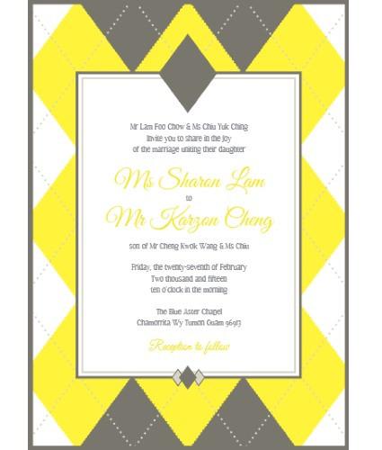 argyle wedding invitation sample