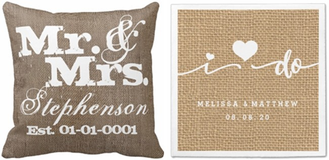 burlap pillow and cocktail napkins for wedding