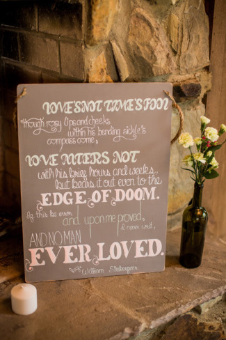 sign on slate with candle