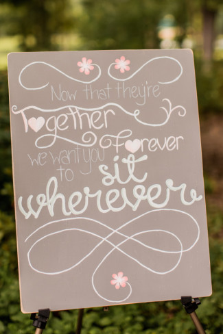 seating chalkboard sign