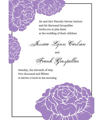 garden rose lavender invite sample