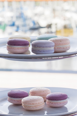 colorful purple, biolet, yellow and green macaroons