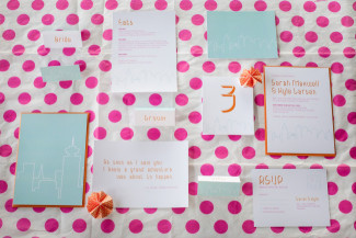 "pink polka dot background with invitations from ""I'll Know It When I See It"""