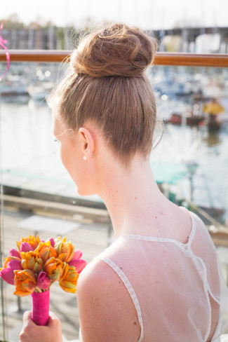 showing off bride's hair style