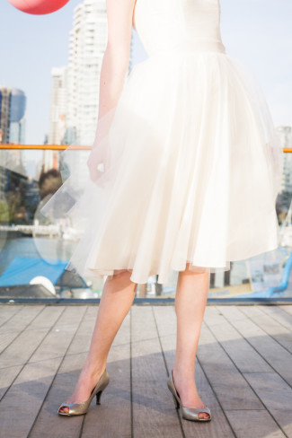 brides knee length white dress