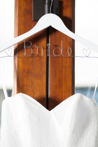 Hanger with wire frame word Bride