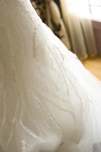 Monique Lhuillier wedding dress with beading