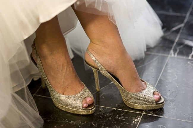 Bride wearing jimmy choo sling backs