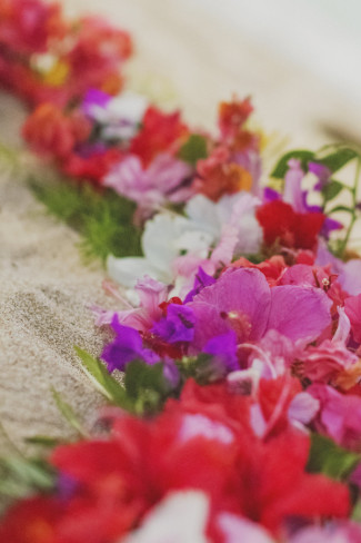 pink, purple, white, and red ring of flowers on sandy beach