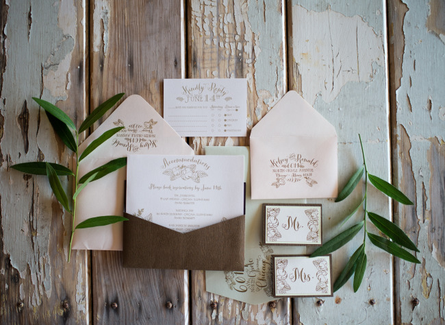 Spring flower styled shoot invitation suite