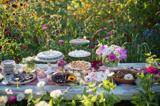 styled dessert table surrounded by wild flowers