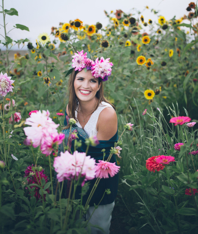 sunflower and dahlia wild flower garden with model wearing dahlia crown