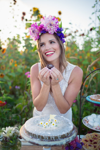 dahlia flower crown on model eating dessert
