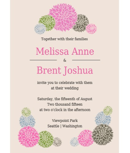 Dahlia Invitation Sample