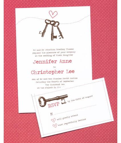 Keys to heart invitation suite