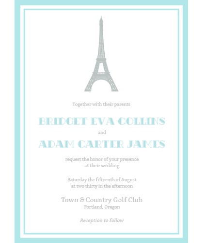 Paris Eiffel Tower invitation blue
