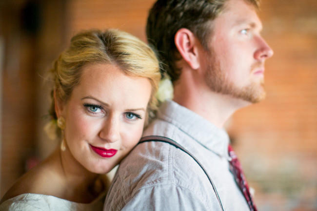 Bride and groom at romantic wedding inspiration styled shoot