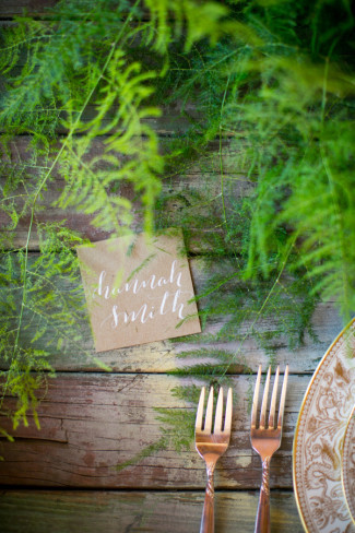 Rustic Calligraphy place card by Heather's Letters