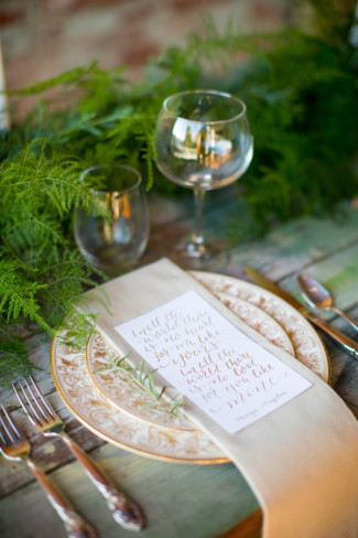 Rustic place setting with a menu in calligraphy by Heather's Letters