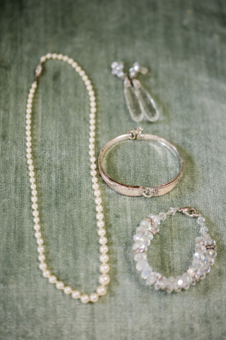 pearl necklace with earrings and bracelet