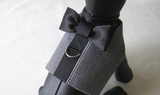 black bowtie tuxedo harness dog vest