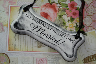"dog bone with words, ""My humans are getting married!"""