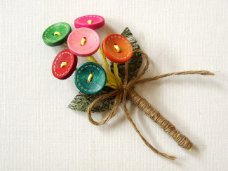 colored wooden button boutonniere