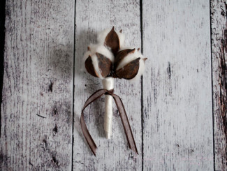 real cotton ball boutonniere