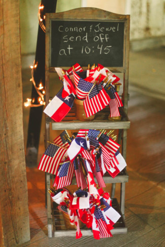 American and Canadian flags for bride and groom sent off