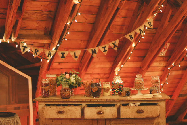 Trail mix bar for wedding reception at The Rustic Wedding Barn