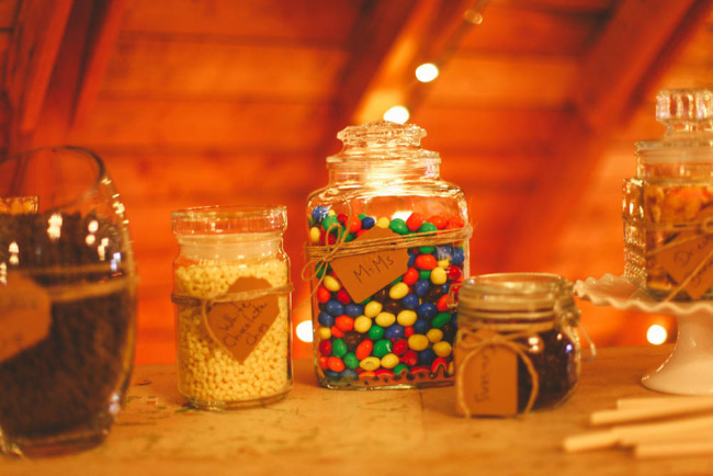Trail mix candy bar for rustic wedding favor reception