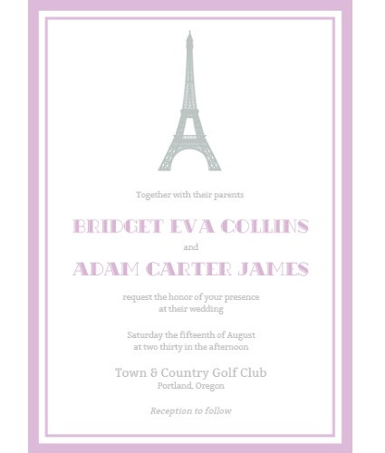 paris eiffel tower invite lavender