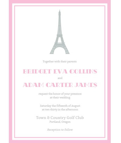 paris eiffel tower invite pink